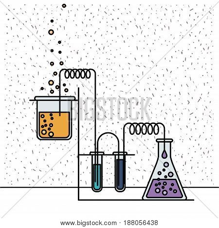 white background with sparkles of glass beaker connected to test tube connected for experiment process vector illustration