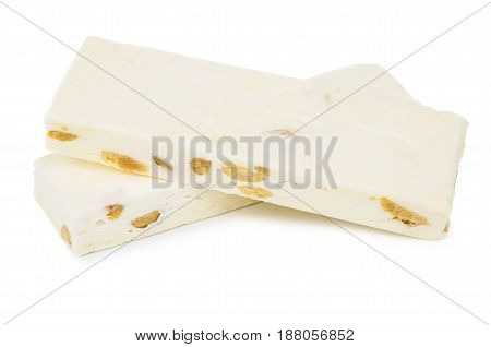 Nougat With Nuts Isolated On White