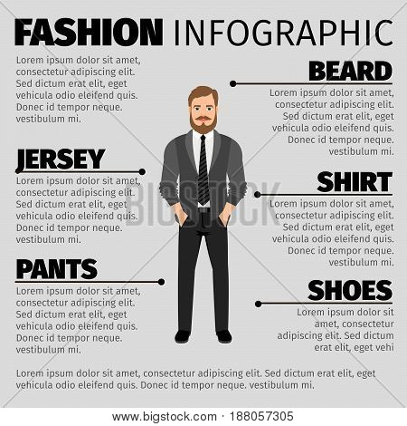 Fashion Infographic With Hipster Man