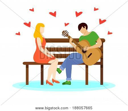 Love couple concept with boy playing guitar romantic song to girl on bench isolated vector illustration