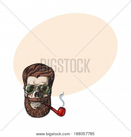 Human skull with red hipster beard, wearing aviator sunglasses, smoking pipe, sketch vector illustration with space for tex. Hand drawing of human skull with hipster hair, beard and whiskers