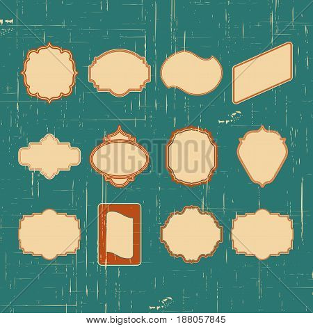 Vector Vintage Border. Set Of Frame With Retro Ornament Pattern In Antique Style Decorative Design.