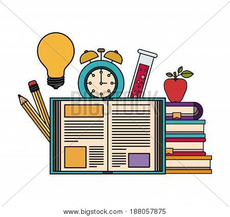 white background with color silhouette set college education items vector illustration