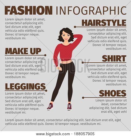 Fashion Infographic With Sexy Girl