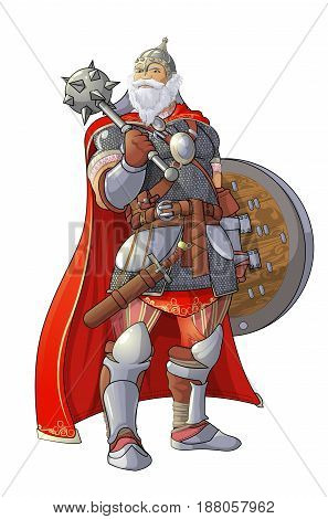 Viking with club and shield on white background