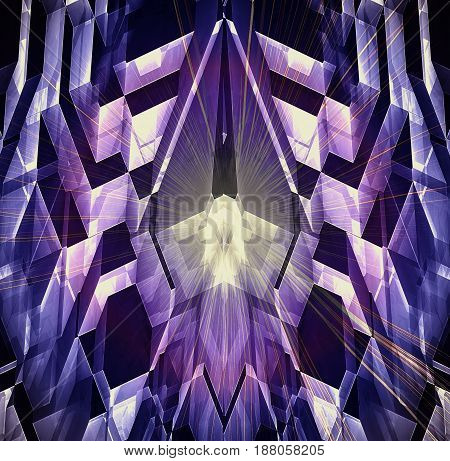 Abstract futuristic background with glowing crystal, polygonal shapes and rays. Blue, purple, pink, yellow and black pattern with laser beams. 3d illustration