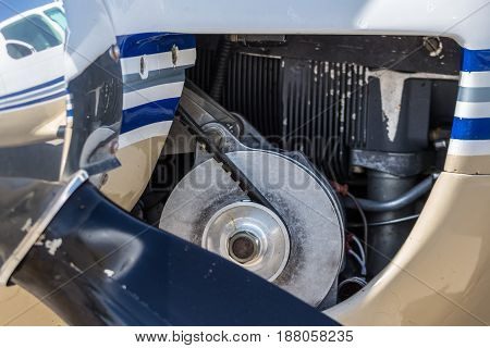 Details of the engine of a small light-engine aircraft