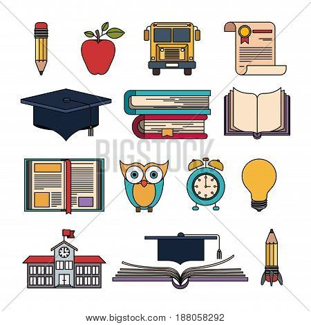 color set college education items with educational elements vector illustration