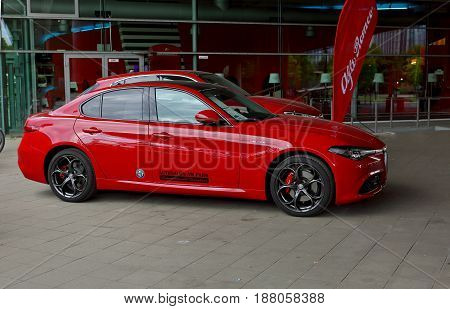 Dusseldorf, Germany - May 11, 2017: Red Alfa Romeo Guilia Veloce Was Presented In The Center Of Duss