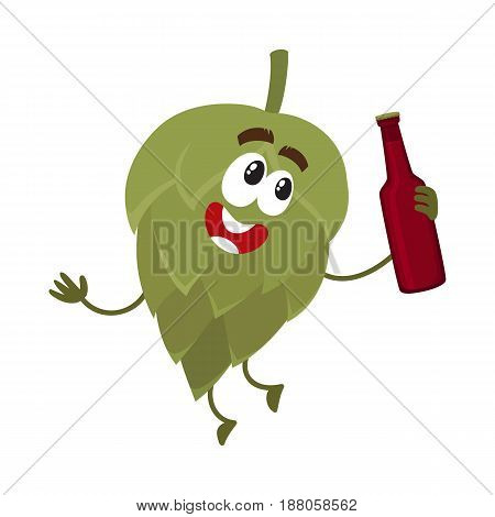 Funny beer hop character with smiling human face holding dark beer bottle, cartoon vector illustration isolated on white background. Cute and funny hop character, mascot with beer bottle