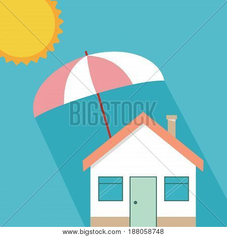 Home protection plan concept. Vector illustration in flat design. Umbrella protect house from sun.