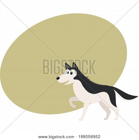 Cute black and white Husky dog character with raised paw, cartoon vector illustration with space for text. Funny husky dog character, one paw raised, mouth open, colorful cartoon illustration
