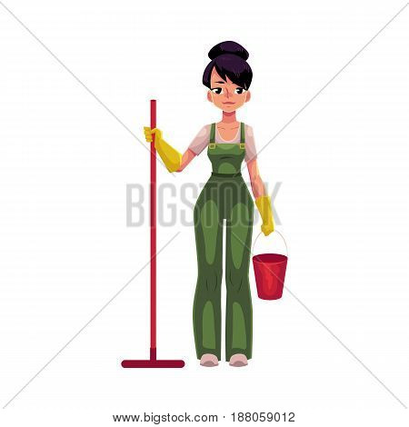 Cleaning service girl, charwoman, cleaner in overalls holding mop and bucket, cartoon vector illustration isolated on white background. Cleaning service girl holding mop and bucket, wearing uniform