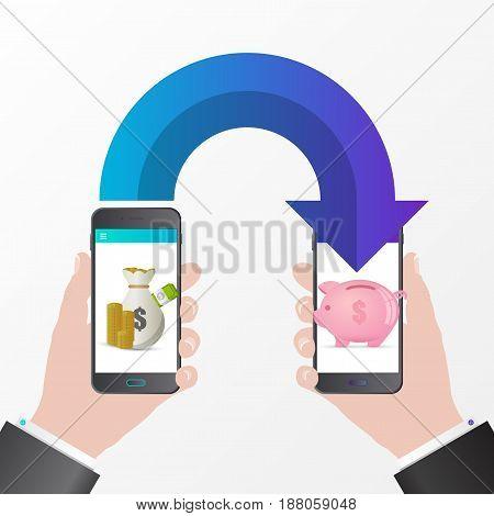 Mobile money transfer. Saving coins concept. Vector illustration
