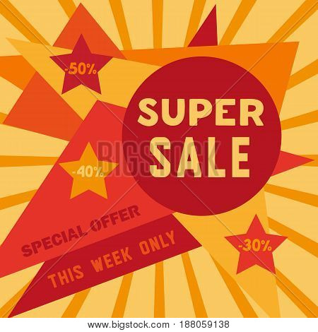 Super sale Concept. Special bonus poster. Design element of discount campaign off price banner. Promotion of season offer for big sale with price drop. Idea to advertise hot deal. Vector illustration