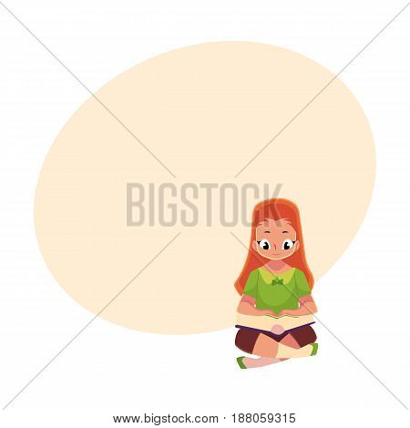 Little red, long haired girl, kid, child reading book sitting with crossed legs on the floor, cartoon vector illustration with space for text. Little girl reading book sitting on the floor