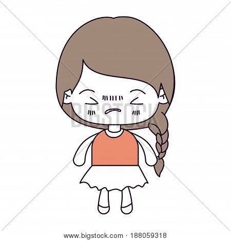 silhouette color sections and light brown hair of kawaii little girl with braided hair and facial expression angry with closed eyes vector illustration