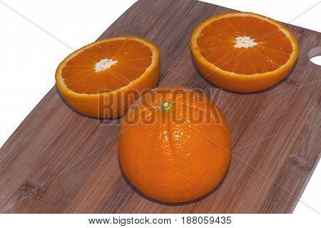 Sliced orange on a wooden chopping board