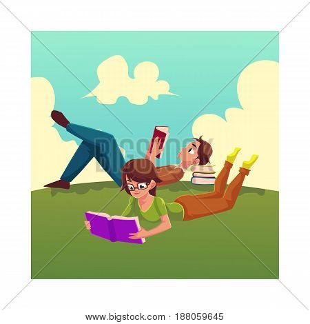 Boy, man reading book and woman in glasses reading book while lying on her stomach on the grass, cartoon vector illustration isolated on white background. Man and woman reading book