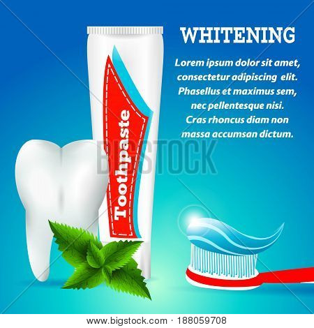 Tooth Whitening Toothpaste, Spearmint Flavor.Blue Toothpaste cleaning, Medical Conception for Tooth Clinic.Clean Tooth White Enamel, Toothpaste on toothbrush, Toothpaste Tube on Blue Radiant Background