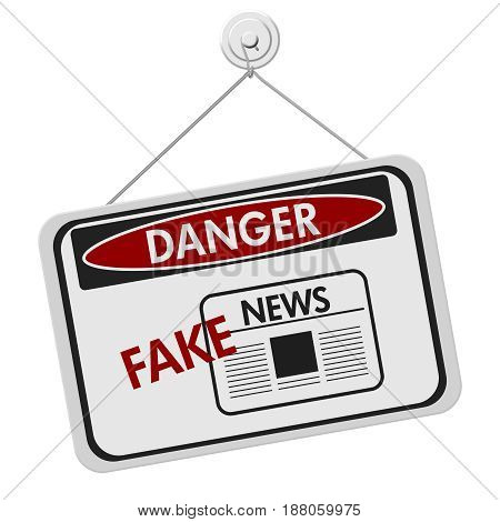 Fake News danger sign A black and white danger hanging sign with text Fake News isolated over white 3D Illustration