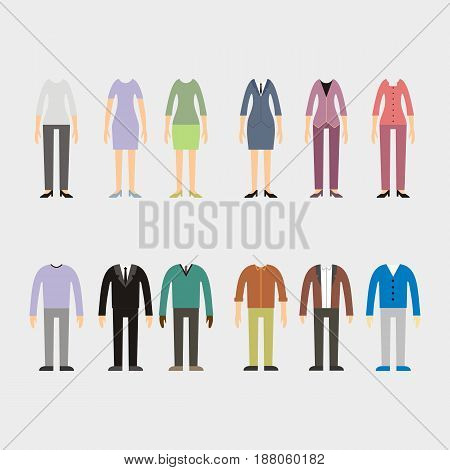 Set of woman and man clothes icons vector illustration