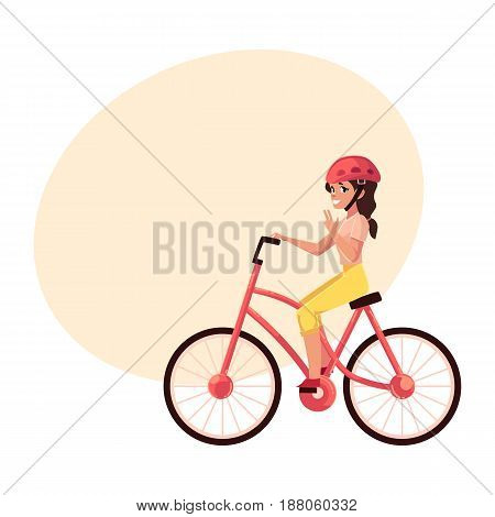 Young pretty woman, girl riding a bicycle, cycling, cartoon vector illustration with space for text. Full length, side view portrait of young pretty woman riding a bicycle, cycling