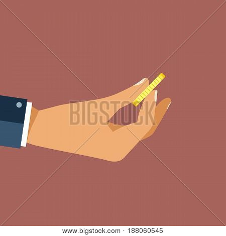 Hand holding golden coin. Need for money concept. Flat vector design