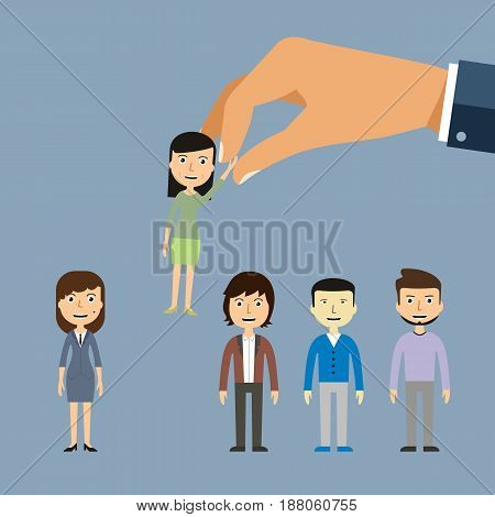 Job recruiting recruitment by employment company. Job searches employees and office workers are being picked up or hand picked by hand. Candidate is happy being chosen by business employer.