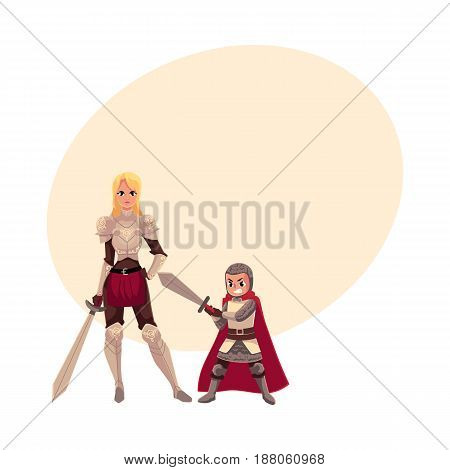 Medieval woman knight in metal suit and her armor bearer, squire, cartoon vector illustrationwith space for text. Full length portrait of medieval heavy armored knight girl and armor bearer