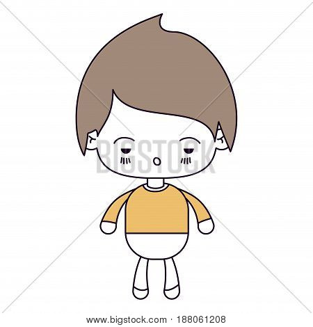 silhouette color sections and light brown hair of kawaii little boy with facial expression sad vector illustration