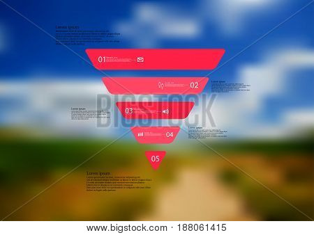 Illustration infographic template with motif of triangle horizontally divided to five standalone red sections with simple sign number and sample text. Blurred photo is used as background.