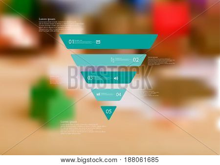 Illustration infographic template with motif of triangle horizontally divided to five standalone blue sections with simple sign number and sample text. Blurred photo is used as background.