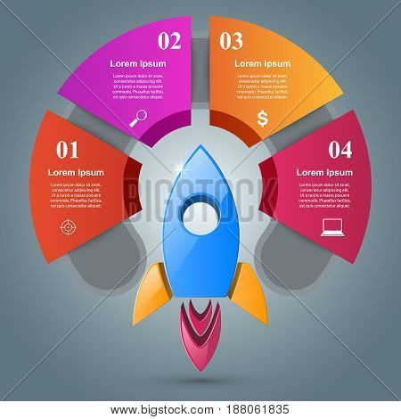 Rocket logo. Infographic design template and marketing icons.