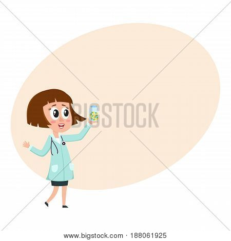 Comic woman doctor character with bob haircut holding bottle of pills, cartoon vector illustration with space for text. Full length portrait of funny woman doctor holding medicine bottle