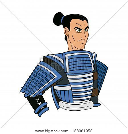 animation warrior man samurai to ancient clothes. vector illustration