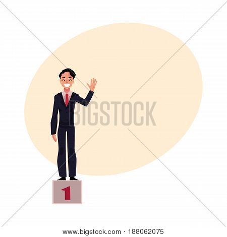 Happy young businessman standing on pedestal, number one, business success concept, cartoon vector illustration with space for text. Business victory celebration, businessman on pedestal