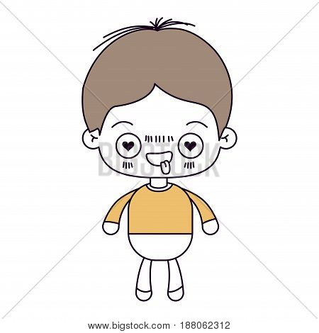 silhouette color sections and light brown hair of kawaii little boy with facial expression in love vector illustration