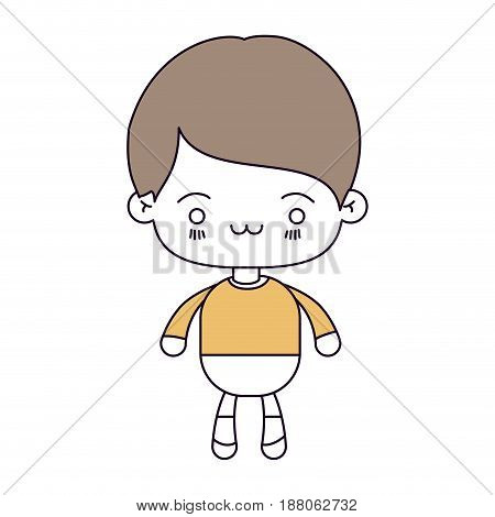 silhouette color sections and light brown hair of kawaii little boy with facial expression exhausted vector illustration