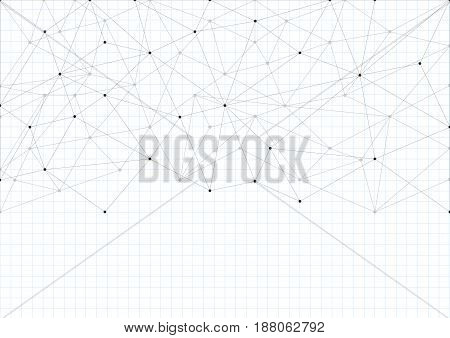 Abstract background with a pattern of lines and dots. A sheet of school notebooks. White sheet of paper. Space for text. Horizontal format A4.