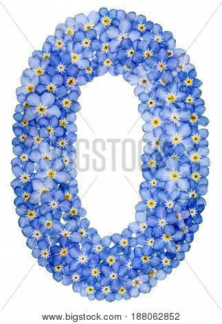 Arabic Numeral 0, Zero, , From Blue Forget-me-not Flowers