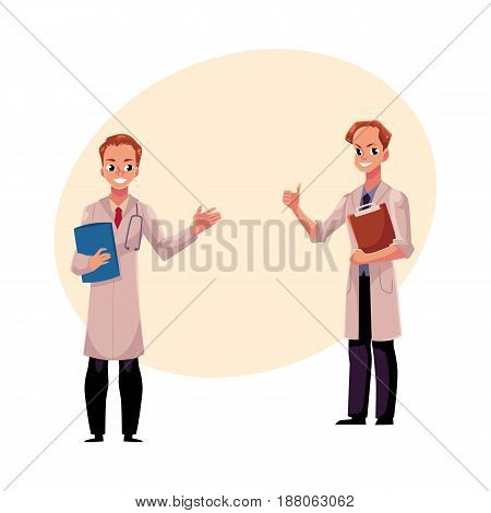 Two male doctors in medical coats holding document folder and clipboard, showing thumb up, cartoon vector illustration with space for text. Full length portrait of two male, man doctors