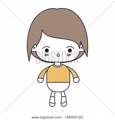 silhouette color sections and light brown hair of kawaii little boy with facial expression of surprise vector illustration