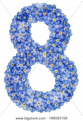Arabic Numeral 8, Eight, , From Blue Forget-me-not Flowers