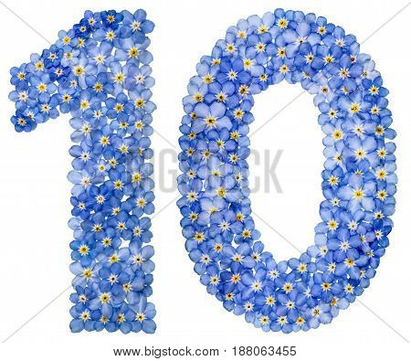 Arabic Numeral 10, Ten, From Blue Forget-me-not Flowers