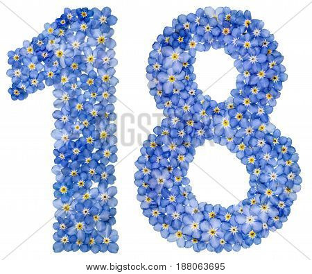 Arabic Numeral 18, Eighteen, From Blue Forget-me-not Flowers