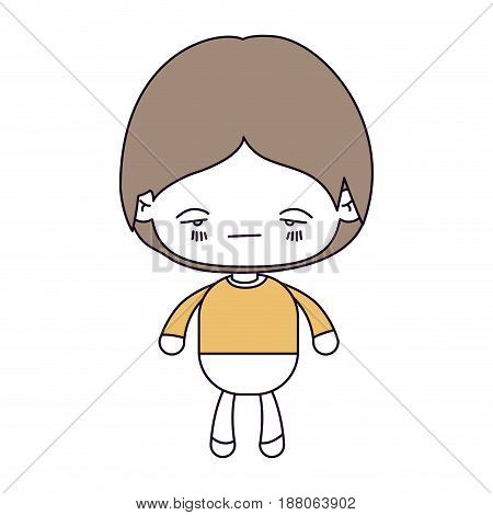 silhouette color sections and light brown hair of kawaii little boy with facial expression nervous vector illustration