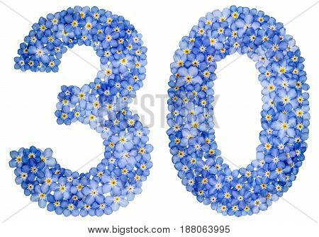 Arabic Numeral 30, Thirty, From Blue Forget-me-not Flowers