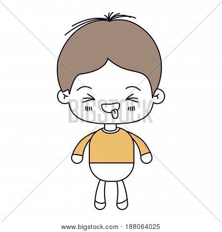 silhouette color sections and light brown hair of kawaii little boy with facial expression funny with closed eyes vector illustration