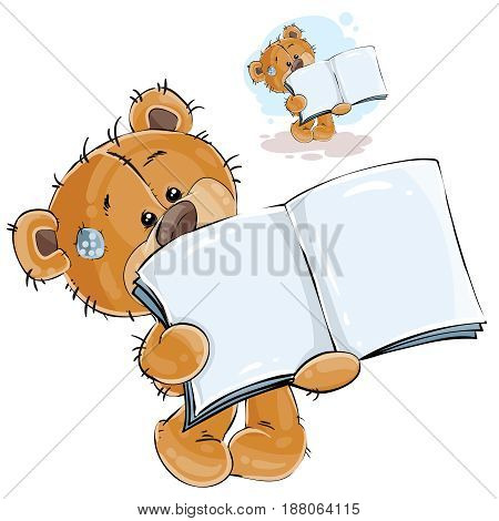 Vector illustration of a brown teddy bear showing a page of an open book, a notebook. Print, template, design element, can be used for advertising, ads